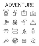 Adventure related vector icon set. Well-crafted sign in thin line style with editable stroke. Vector symbols isolated on a white background. Simple pictograms Stock Images