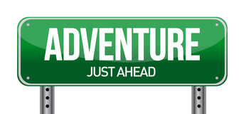 Adventure road sign. Illustration design over a white background Royalty Free Stock Image
