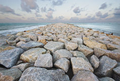 Adventure rock path jetty vanish point Royalty Free Stock Image