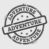 Adventure rubber stamp isolated on white. Adventure rubber stamp isolated on white background. Grunge round seal with text, ink texture and splatter and blots vector illustration