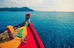 Adventure seascape background of trip journey by tourist boat in Thailand Point of view photography of ship moving Toned Stock Images