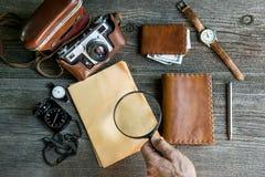 Adventure seeker set. Vintage background. Stock Photo