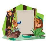 Adventure sign concept. Explorer man with his dog rowing on the wooden boat in rain forest river to explorer with blank sign -. Vector illustration stock illustration