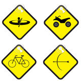 Adventure sign set in yellow tag vector illustration Stock Photo
