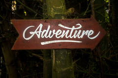 Adventure signboard Stock Image