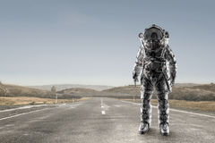 Adventure of spaceman. Mixed media Royalty Free Stock Images