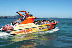 An adventure Speedboat ride in San Francisco bay Stock Image