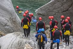 Canyoning - popular adventure sports for young and old Stock Image