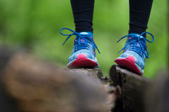 Adventure, sport and exercise detail. Sport shoes. Stock Photography