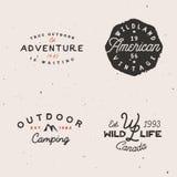 Adventure themed logotypes, retro logo templates in minimal vintage style. Stock Photo