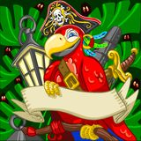 Adventure Time Courageous Boatswain Corsair Parrot. Game Tale, Filibuster Pirate Corsair Boatswain Aggressive Armed Parrot with Saber, Cannon and Lanter Hold Stock Photography