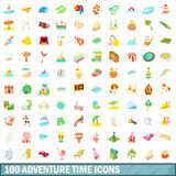 100 adventure time icons set, cartoon style. 100 adventure time icons set in cartoon style for any design vector illustration Stock Images