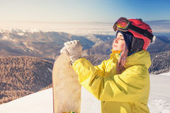 Adventure to winter sport. Snowboarder girl Stock Images