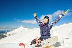 Adventure to winter sport. Snowboarder girl Stock Photography