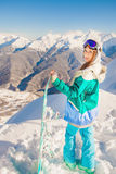 Adventure to winter sport. Snowboarder girl Royalty Free Stock Photos