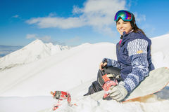 Adventure to winter sport. Snowboarder girl Royalty Free Stock Images