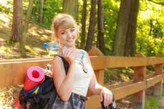 Tourist woman with backpack water bottle Stock Photo