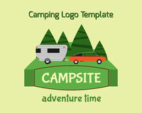 Adventure Tourism Travel Logo Vintage Labels. Design vector templates. RV, forest holiday park, caravan, motorhome. Exploration Camping Badges Retro style stock illustration
