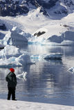 Adventure Tourist - Antarctic Peninsula - Antarctica. Adventure tourist at Paradise Bay on the Antarctic Peninsula in Antarctica Royalty Free Stock Photo