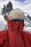 Adventure tourist in Antarctica. An adventure tourist (senior) on a cruise ship in Antarctica Stock Image