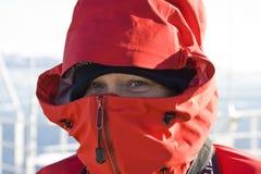 Adventure tourist - Antarctica. Adventure tourist keeping warm in Antarctica Royalty Free Stock Photography