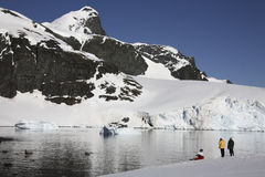 Adventure tourists in Antarctica Stock Photography