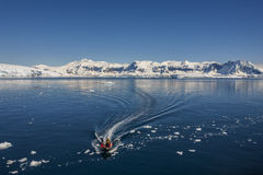 Adventure Tourists - Cuverville Bay - Antarctica stock photo