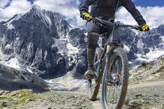 Adventure travel mountain biking great height Stock Images