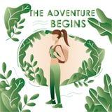 Adventure travel. Vacation. Tourism on nature. Consept stock illustration
