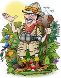 Adventure traveler man. Cartoon illustration drawing Royalty Free Stock Photo