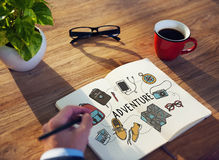 Adventure Traveling Coffee Plan Concept.  Stock Image