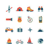 Adventure traveling icons. Set of vector adventure traveling icons Royalty Free Stock Image