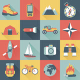 Adventure traveling icons. Set of flat square adventure traveling icons Royalty Free Stock Photo