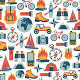 Adventure traveling pattern. Seamless pattern with adventure traveling icons Royalty Free Stock Images