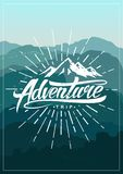Adventure vintage poster. With mountains. Vector illustration vector illustration