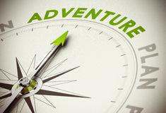 Adventure vs Plan. Compass with needle poiting the word adventure, green and beige tones Royalty Free Stock Image