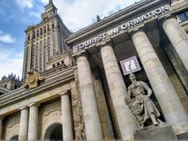 An adventure in Warsaw with turist information stock photo