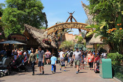 Adventureland at Disneyland. Anaheim, California, USA - May 30, 2014: Adventureland, one of 8 themed lands at Disneyland Park, is designed to recreate the feel royalty free stock photo