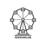Adventureland icon with black ferris wheel Royalty Free Stock Photography