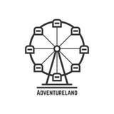 Adventureland-Ikone mit schwarzem Riesenrad stock abbildung