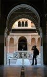 Adventurer. Visitor in Alhambra castle (Granada Spain Stock Image