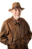 Adventurer or archaeologist. In brown leather jacket royalty free stock photos