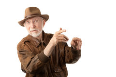 Adventurer or archaeologist. In brown leather jacket royalty free stock images