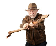 Adventurer or archaeologist defending himself Stock Image