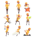 Adventurer Archeologist In Safari Suit With A Whip Set Of Activity Illustrations. Geometric Style Vector Cartoon Man Explorer Character And His Adventures Stock Photo