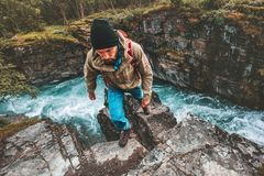 Adventurer man hiking survival alone active extreme vacations royalty free stock image