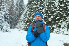 Adventurer man in winter wood. Stock Images