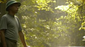 Adventurer observes nature stock video