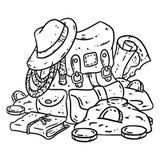 Adventurer pack lineart illustration for coloring. Treasure hunter comic style sketch. Archaeologist gold-digger backpack image stock illustration
