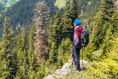 Adventurer stands on the cliff Royalty Free Stock Photography